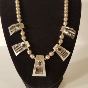 VTG EGYPTIAN LOOK STERLING SILVER & ONYX NECKLACE